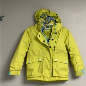 LL Bean Girls Winter Jacket, size S 4 Yellow/ blue
